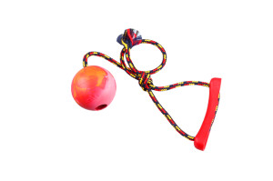 Toy for dogs made of rubber ball and rope with a handle, 6cm ball diameter