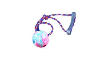 Dog rope toy with rubber ball made from thermoplastic TPR that floats