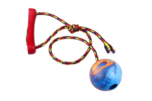 Rope dog toy with a handle and rubber ball
