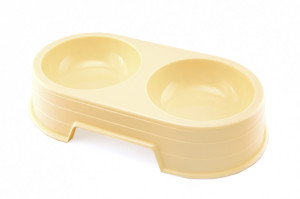Plastic dog bowl with two compartments, for medium to large dogs, for food and water