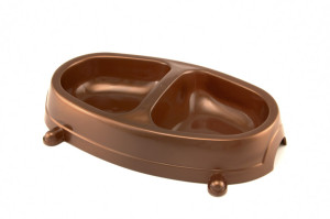 Double dinner plastic dog or cat bowl with two compartments for food and water, anti-skid, size small