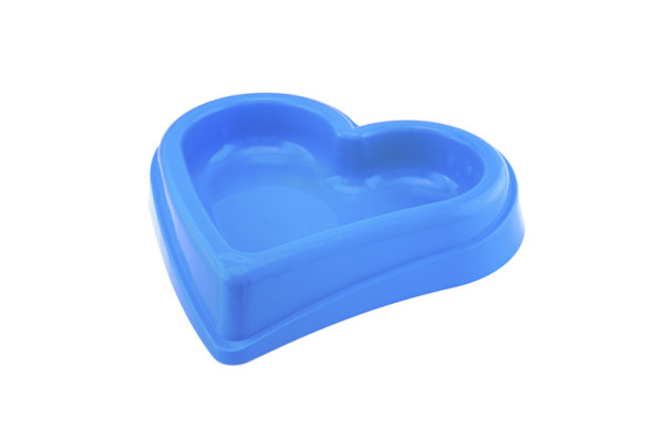 Plastic dog bowl in shape of a heart, good for any size dog