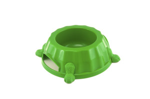 Paw print plastic dog bowl with rubber feed on the bottom to prevent sliding