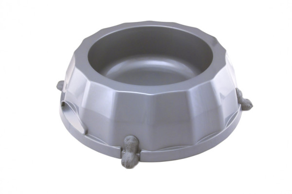 For large dogs, plastic bowl with anti skid rubber feet on the bottom