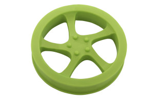 Rim tire shaped rubber dog toy made from thermoplastic that floats