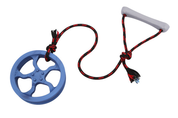 A toy for dogs made of rubber rim tire and rope with handle to use for fetching