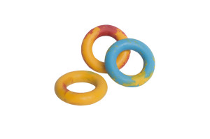 Ring dog toy made from thermoplastic that floats in water