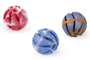 Very durable dog chewing rubber spiral ball