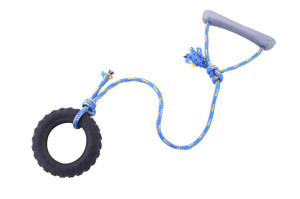 Toy for dogs made from solid rubber tire and rope with handle